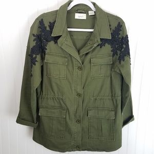 Kersh Army Green Jacket with Embroidered Applique